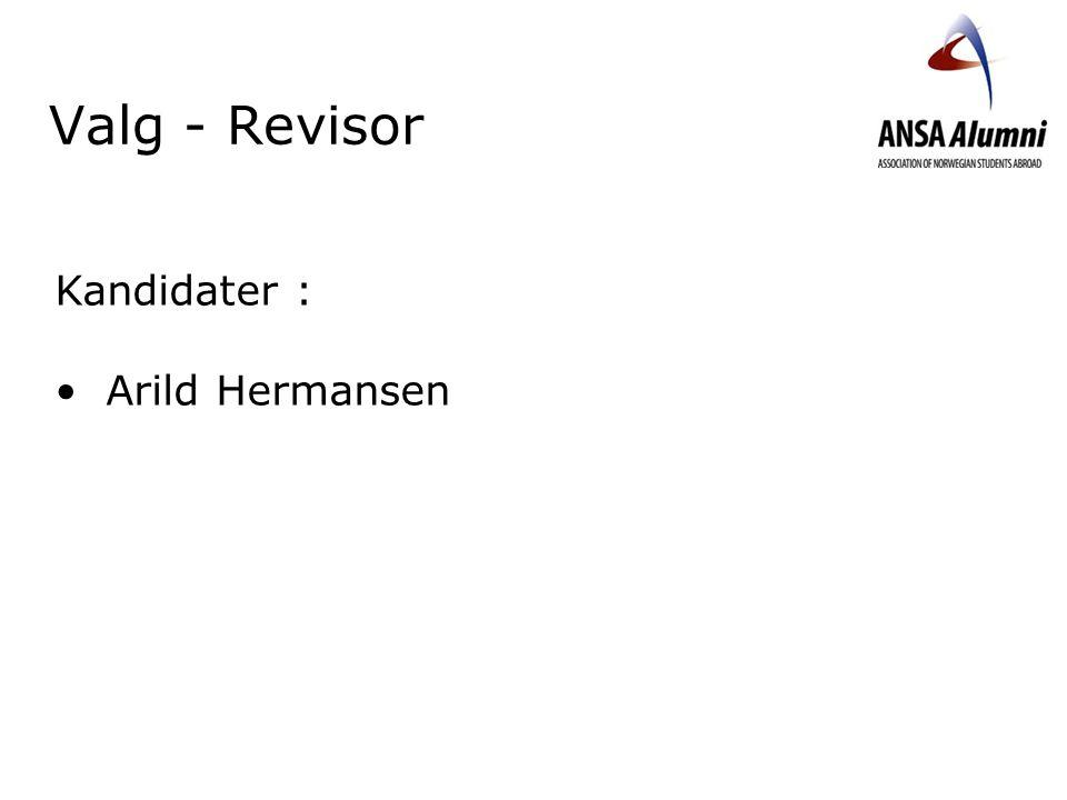 Valg - Revisor Kandidater : Arild Hermansen