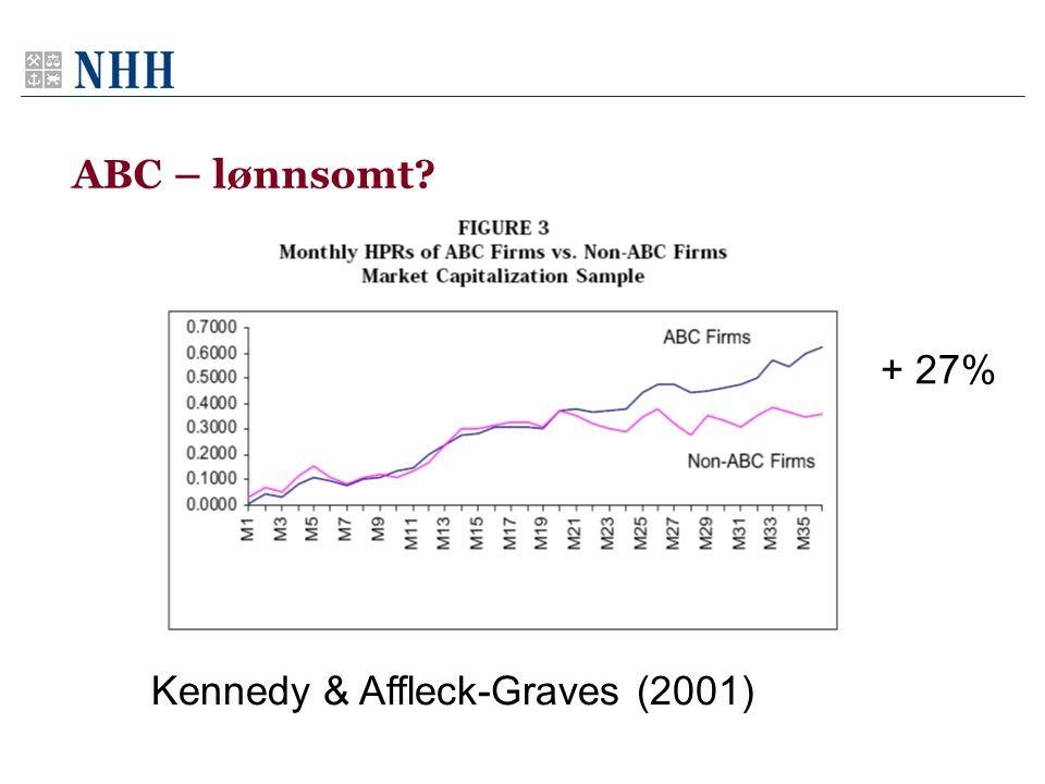 ABC – lønnsomt? Kennedy & Affleck-Graves (2001) + 27%