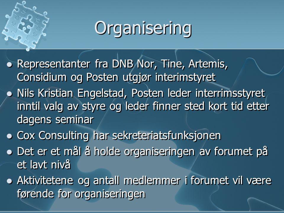 Organisering Representanter fra DNB Nor, Tine, Artemis, Considium og Posten utgjør interimstyret Nils Kristian Engelstad, Posten leder interrimsstyret