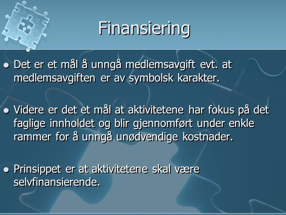 Finansiering Det er et mål å unngå medlemsavgift evt. at medlemsavgiften er av symbolsk karakter. Videre er det et mål at aktivitetene har fokus på de
