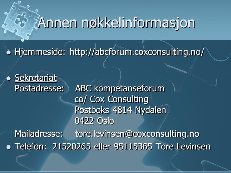 Annen nøkkelinformasjon Hjemmeside: http://abcforum.coxconsulting.no/ Sekretariat Postadresse: ABC kompetanseforum co/ Cox Consulting Postboks 4814 Ny