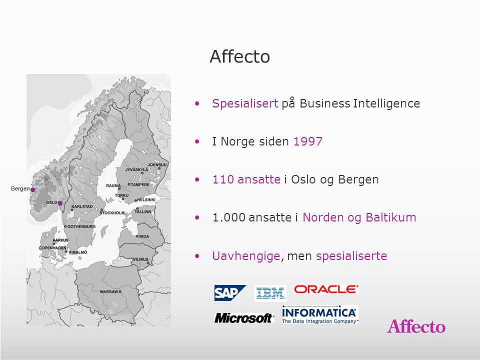 Affecto Spesialisert på Business Intelligence I Norge siden 1997 110 ansatte i Oslo og Bergen 1.000 ansatte i Norden og Baltikum Uavhengige, men spesi