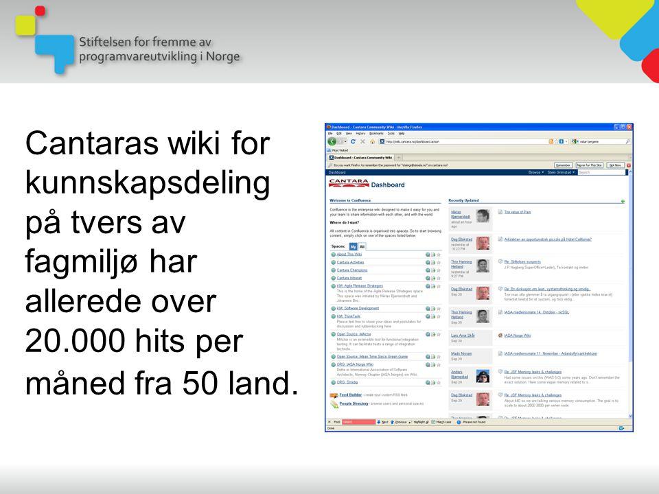 Cantaras wiki for kunnskapsdeling på tvers av fagmiljø har allerede over 20.000 hits per måned fra 50 land.