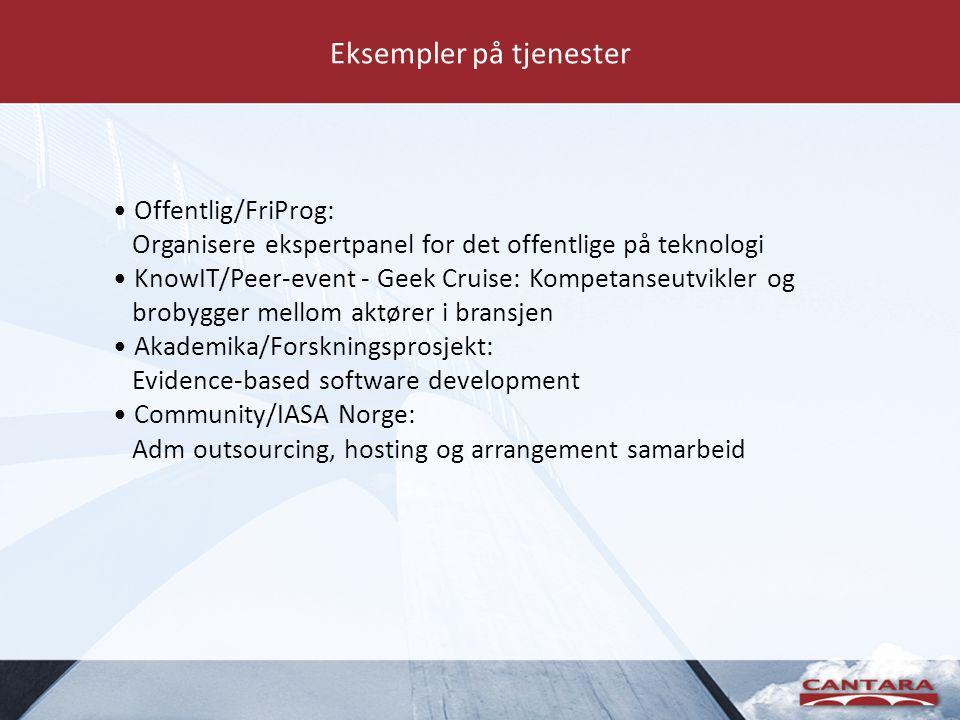 Eksempler på tjenester Offentlig/FriProg: Organisere ekspertpanel for det offentlige på teknologi KnowIT/Peer-event - Geek Cruise: Kompetanseutvikler og brobygger mellom aktører i bransjen Akademika/Forskningsprosjekt: Evidence-based software development Community/IASA Norge: Adm outsourcing, hosting og arrangement samarbeid