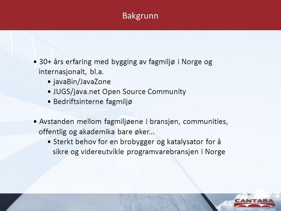 Stiftelsen for fremme av prorgramvareutvikling i Norge Legacy fra javaBin/JavaZone Innspill fra et bredt spekter av aktører Ønske: Gjøre for bransjen som helhet det vi har gjort for java-utviklere i Norge..