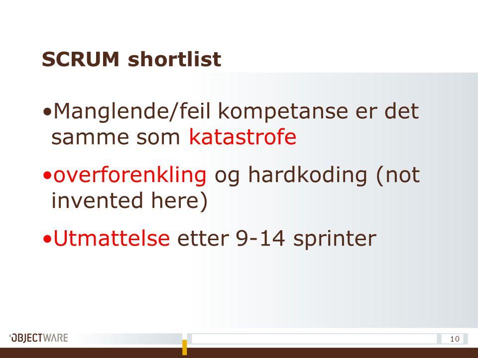 SCRUM shortlist Manglende/feil kompetanse er det samme som katastrofe overforenkling og hardkoding (not invented here) Utmattelse etter 9-14 sprinter 10