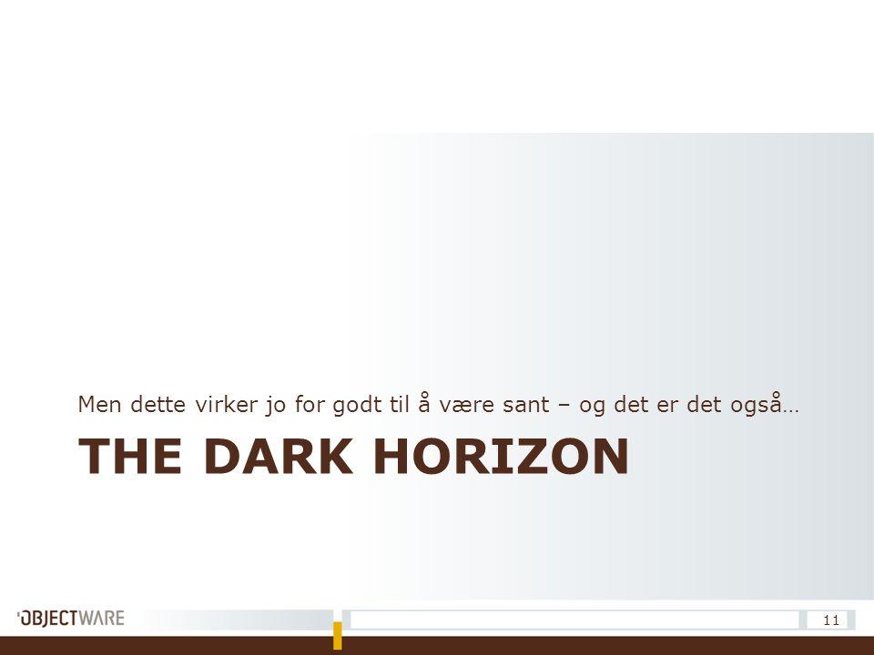 THE DARK HORIZON Men dette virker jo for godt til å være sant – og det er det også… 11