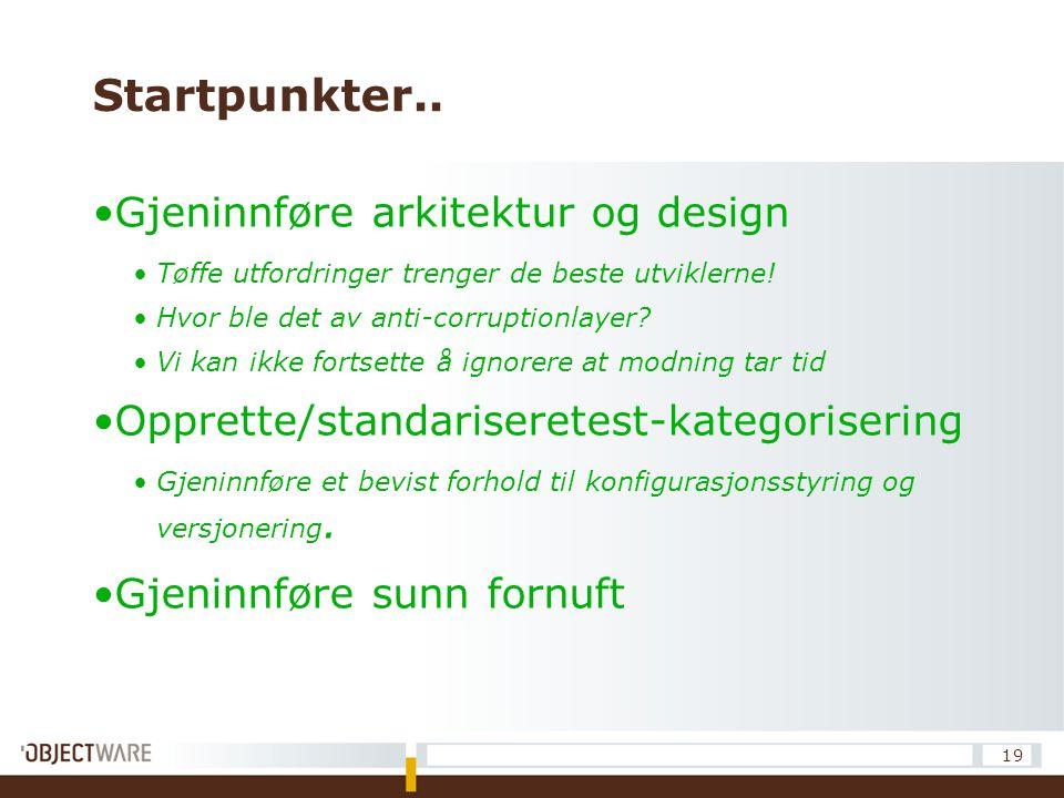 Startpunkter.. Gjeninnføre arkitektur og design Tøffe utfordringer trenger de beste utviklerne! Hvor ble det av anti-corruptionlayer? Vi kan ikke fort