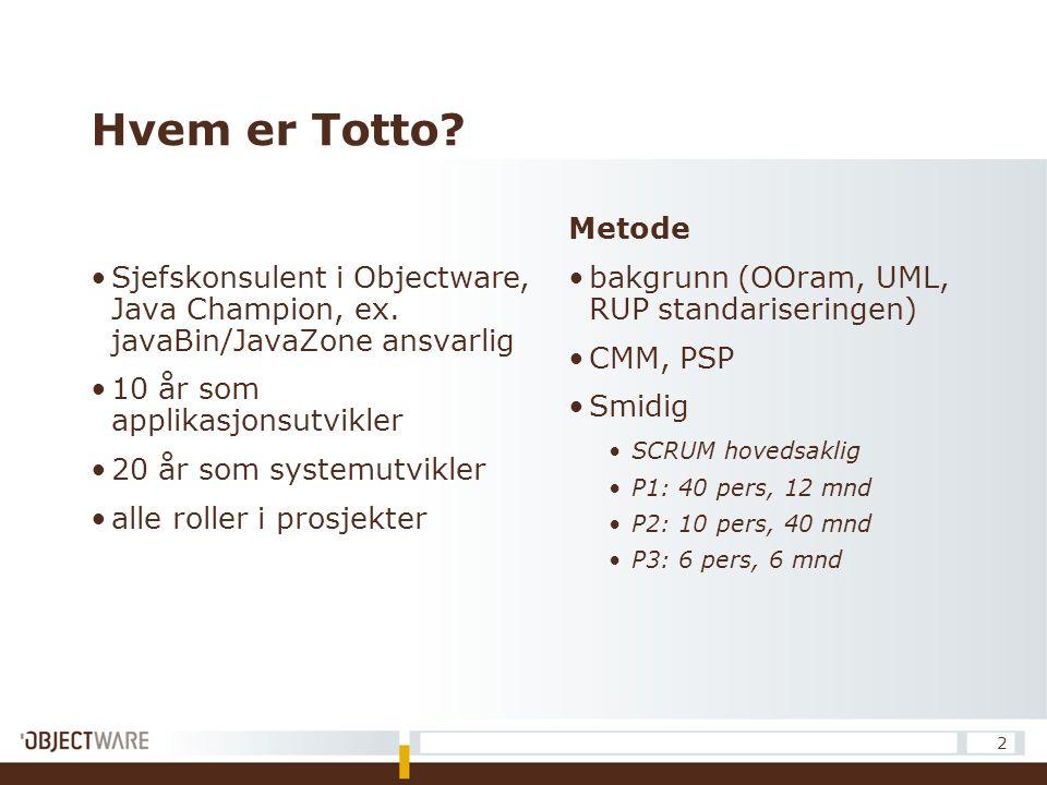 Hvem er Totto? Sjefskonsulent i Objectware, Java Champion, ex. javaBin/JavaZone ansvarlig 10 år som applikasjonsutvikler 20 år som systemutvikler alle