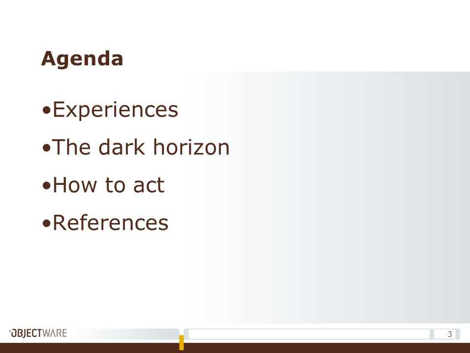 Agenda Experiences The dark horizon How to act References 3