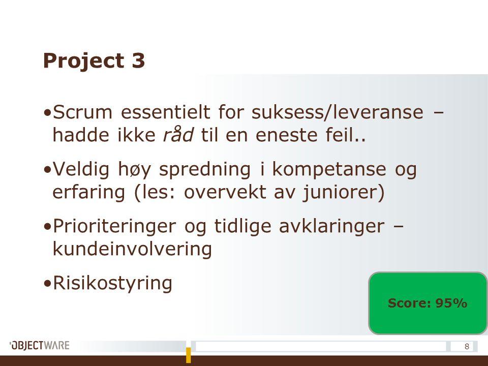 Project 3 Scrum essentielt for suksess/leveranse – hadde ikke råd til en eneste feil.. Veldig høy spredning i kompetanse og erfaring (les: overvekt av
