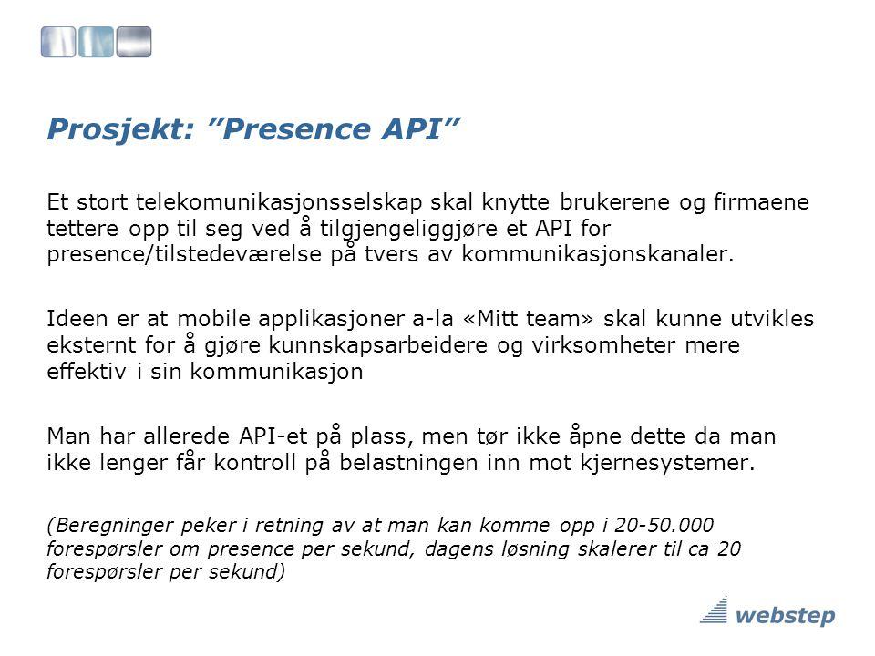 Prosjekt: Presence API Et stort telekomunikasjonsselskap skal knytte brukerene og firmaene tettere opp til seg ved å tilgjengeliggjøre et API for presence/tilstedeværelse på tvers av kommunikasjonskanaler.