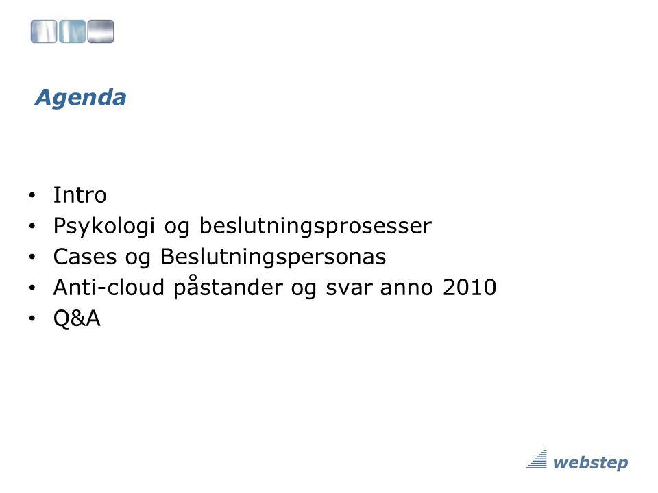 Agenda Intro Psykologi og beslutningsprosesser Cases og Beslutningspersonas Anti-cloud påstander og svar anno 2010 Q&A