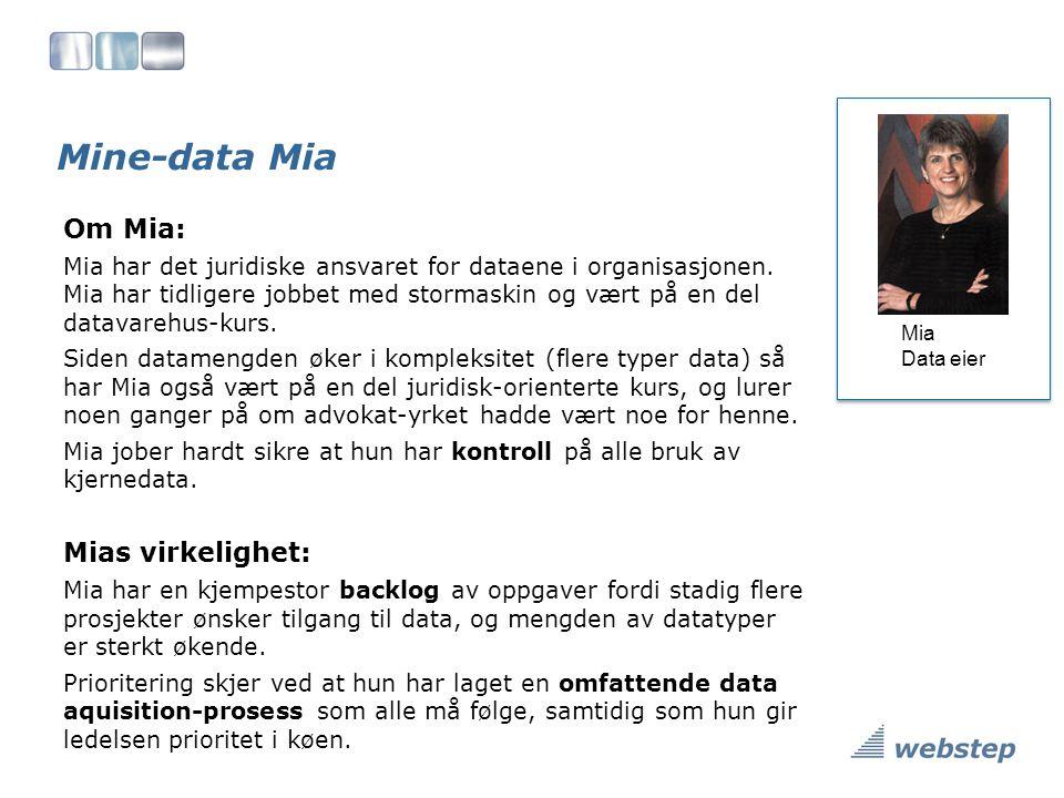 Mine-data Mia Om Mia: Mia har det juridiske ansvaret for dataene i organisasjonen.