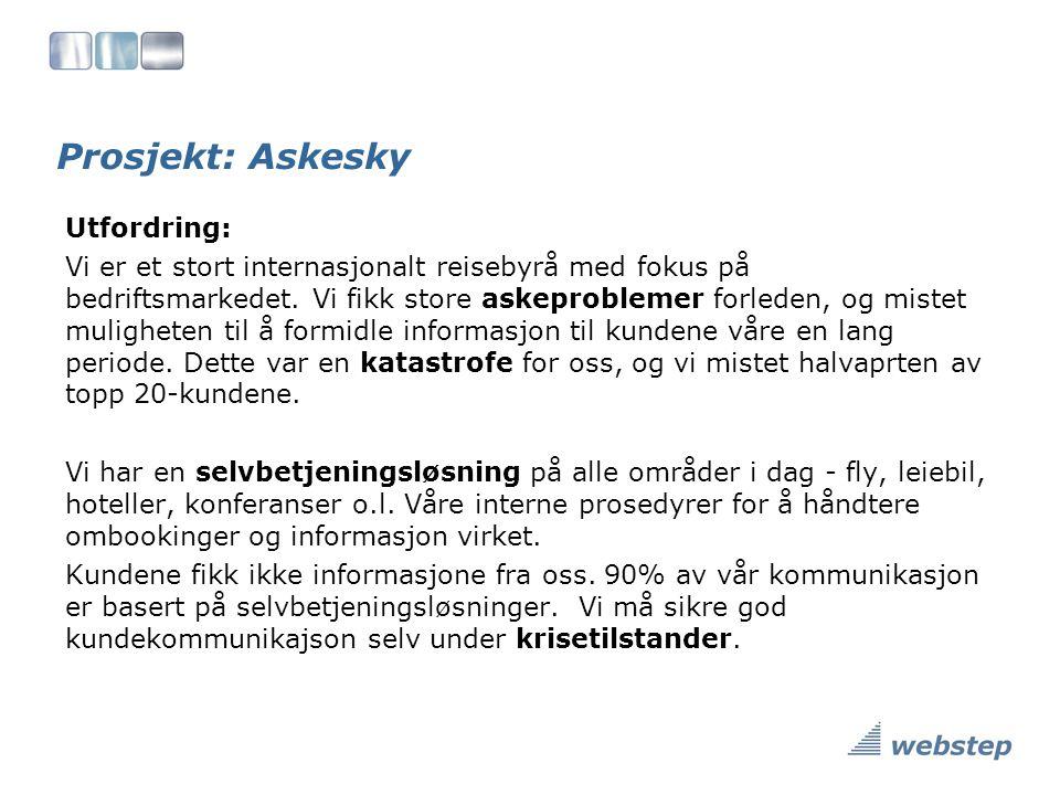 Prosjekt: Askesky Utfordring: Vi er et stort internasjonalt reisebyrå med fokus på bedriftsmarkedet.