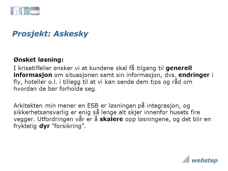 Prosjekt: Askesky Ønsket løsning: I krisetilfeller ønsker vi at kundene skal få tilgang til generell informasjon om situasjonen samt sin informasjon, dvs.