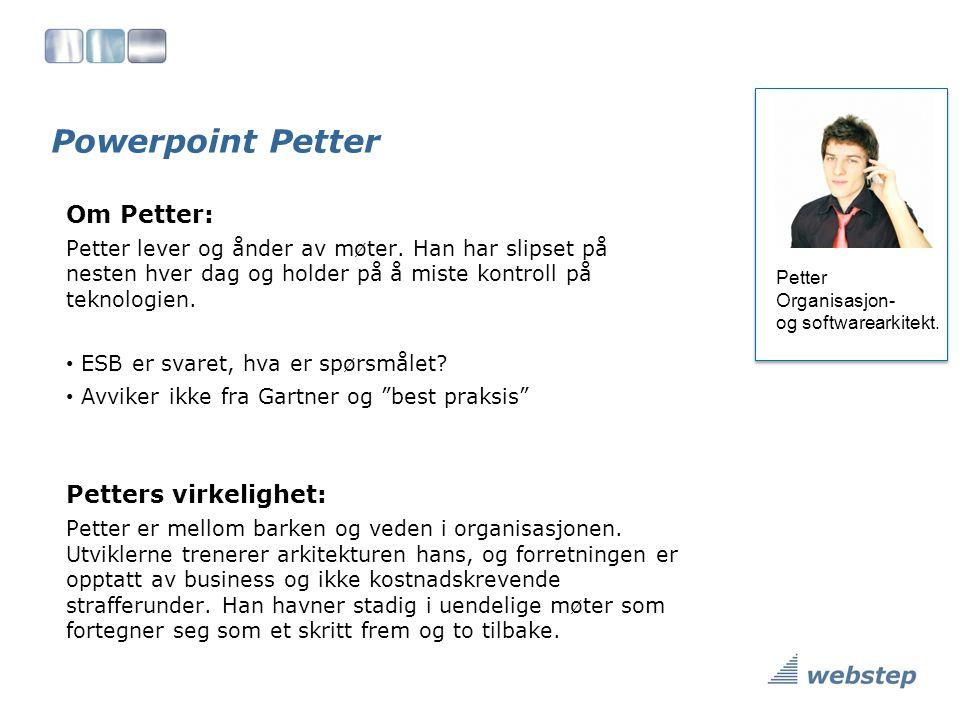 Powerpoint Petter Petter Organisasjon- og softwarearkitekt.