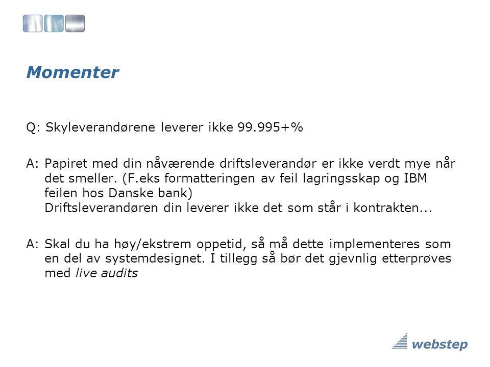 Momenter Q: Skyleverandørene leverer ikke 99.995+% A: Papiret med din nåværende driftsleverandør er ikke verdt mye når det smeller.