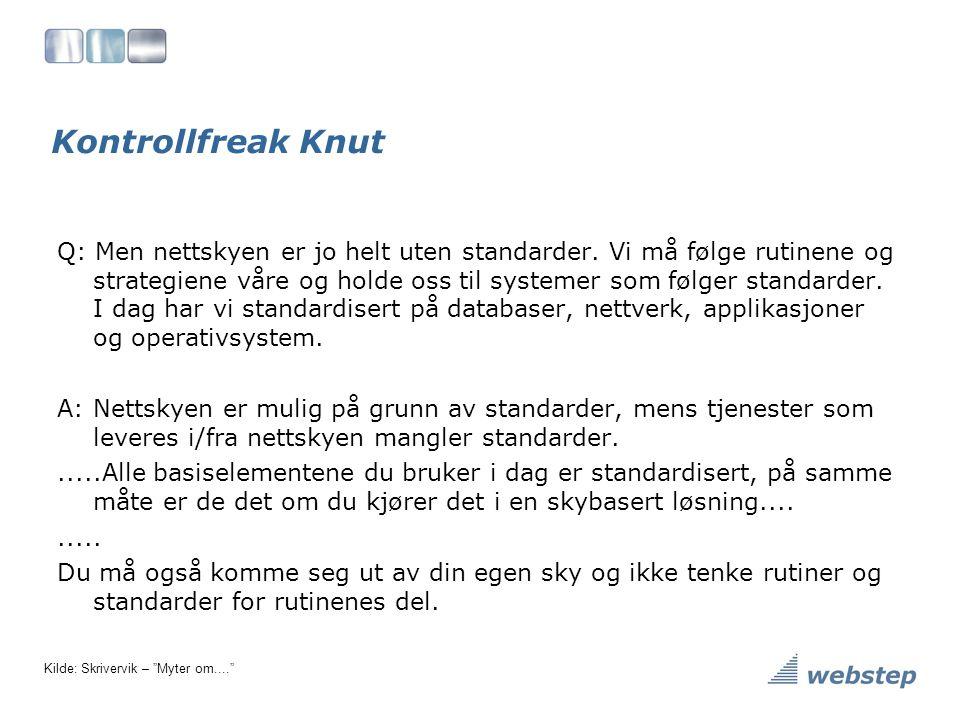 Kontrollfreak Knut Q: Men nettskyen er jo helt uten standarder.