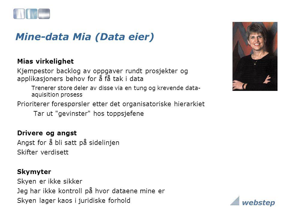 Mine-data Mia (Data eier) Mias virkelighet Kjempestor backlog av oppgaver rundt prosjekter og applikasjoners behov for å få tak i data Trenerer store deler av disse via en tung og krevende data- aquisition prosess Prioriterer forespørsler etter det organisatoriske hierarkiet Tar ut gevinster hos toppsjefene Drivere og angst Angst for å bli satt på sidelinjen Skifter verdisett Skymyter Skyen er ikke sikker Jeg har ikke kontroll på hvor dataene mine er Skyen lager kaos i juridiske forhold