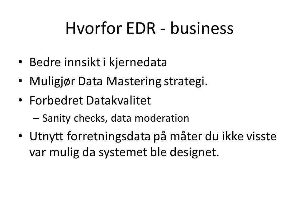 Hvorfor EDR - business Bedre innsikt i kjernedata Muligjør Data Mastering strategi.