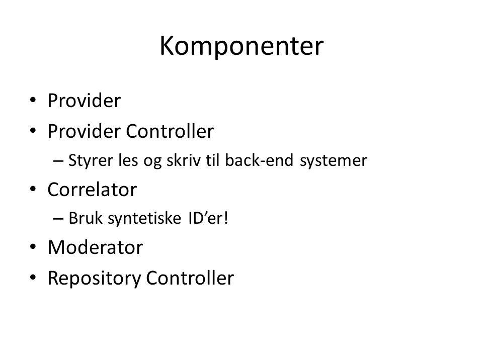 Komponenter Provider Provider Controller – Styrer les og skriv til back-end systemer Correlator – Bruk syntetiske ID'er.