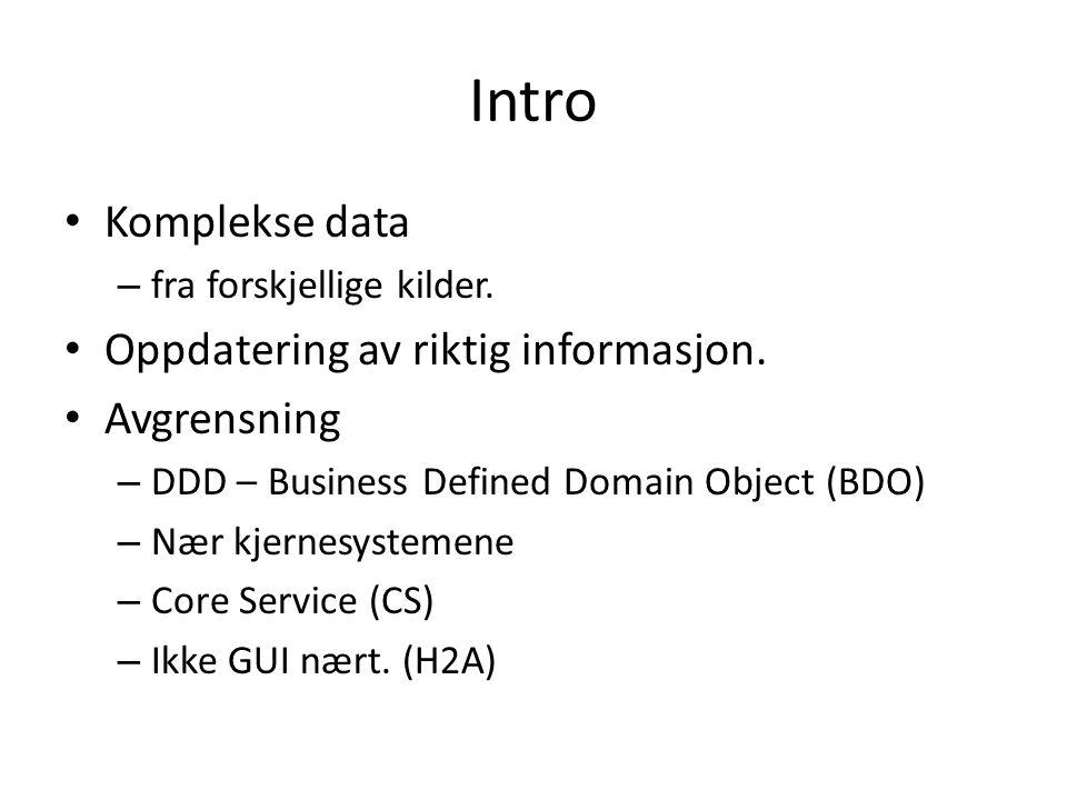 Intro Komplekse data – fra forskjellige kilder. Oppdatering av riktig informasjon.