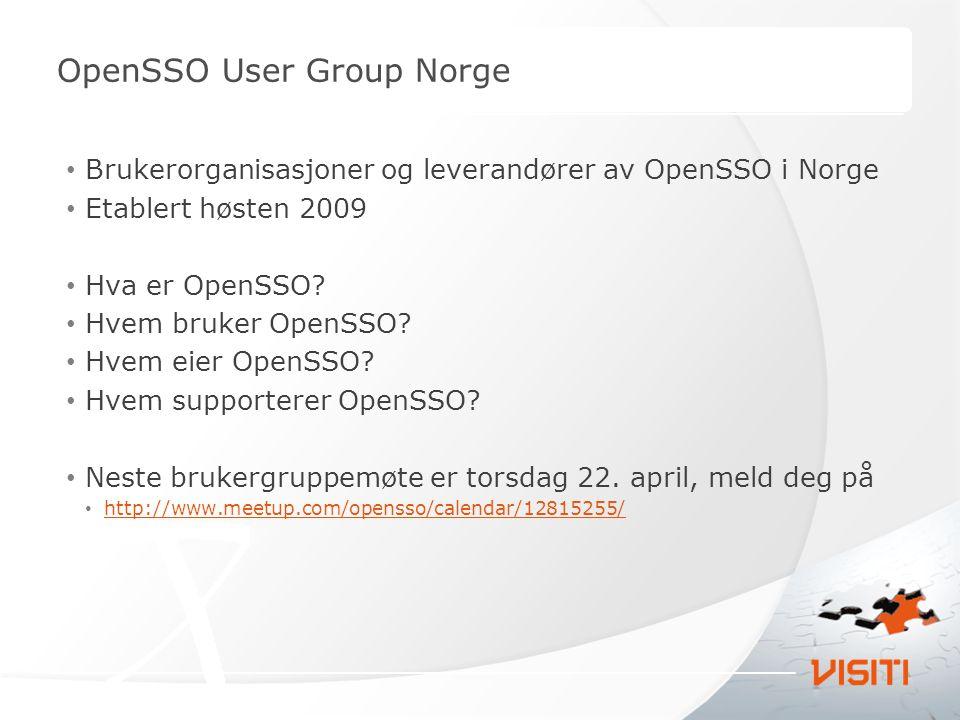 Brukerorganisasjoner og leverandører av OpenSSO i Norge Etablert høsten 2009 Hva er OpenSSO? Hvem bruker OpenSSO? Hvem eier OpenSSO? Hvem supporterer