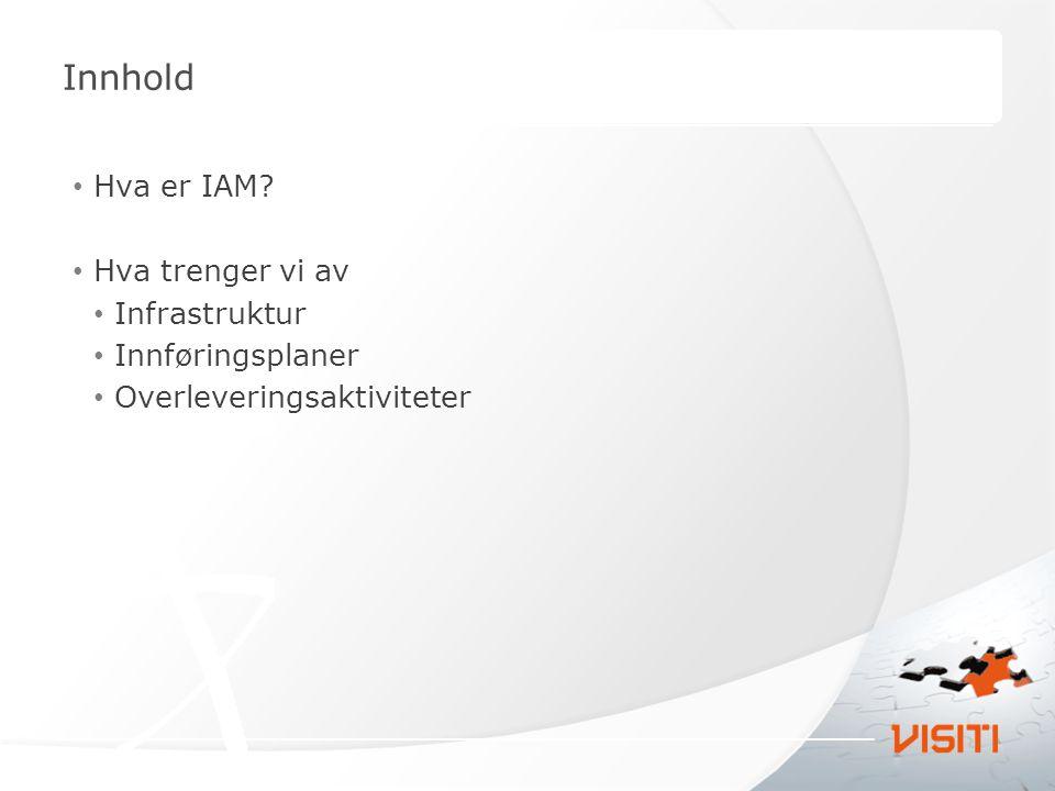 Innhold Hva er IAM? Hva trenger vi av Infrastruktur Innføringsplaner Overleveringsaktiviteter