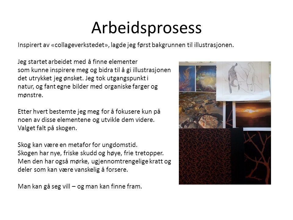 Arbeidsprosess Inspirert av «collageverkstedet», lagde jeg først bakgrunnen til illustrasjonen.