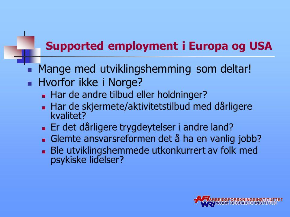 Supported employment i Europa og USA Mange med utviklingshemming som deltar.