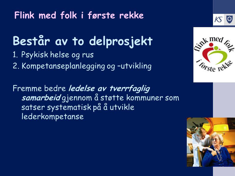 KS Arbeidsgiverutvikling 2008 Flink med folk i første rekke Består av to delprosjekt 1.Psykisk helse og rus 2.Kompetanseplanlegging og –utvikling Frem
