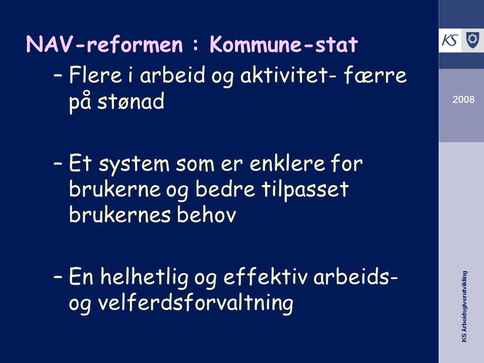 KS Arbeidsgiverutvikling 2008 NAV-reformen : Kommune-stat –Flere i arbeid og aktivitet- færre på stønad –Et system som er enklere for brukerne og bedr