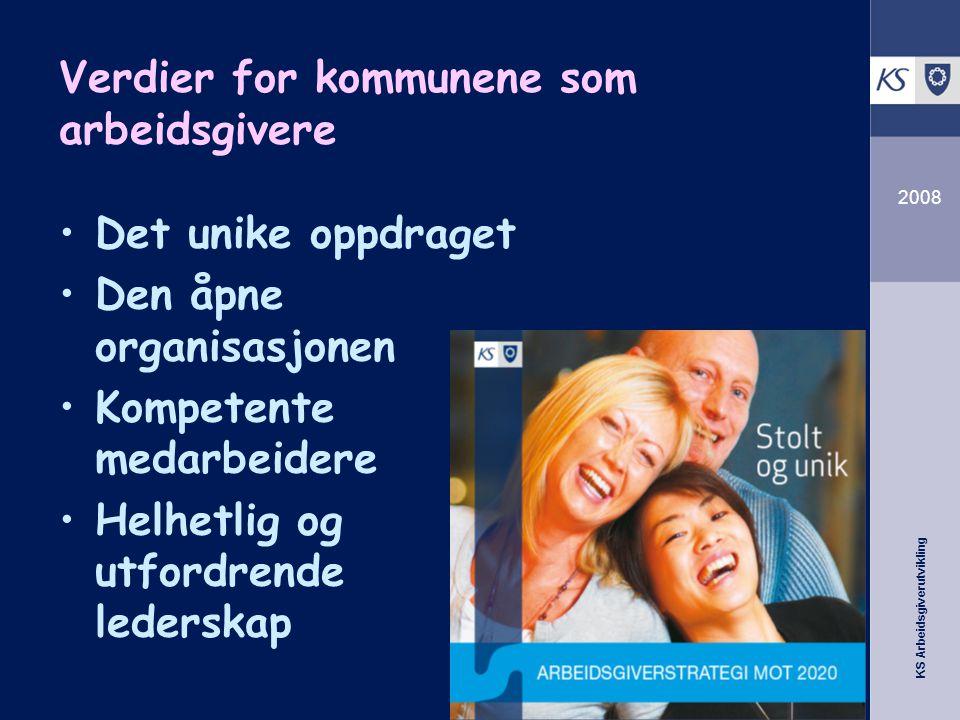 KS Arbeidsgiverutvikling 2008 Verdier for kommunene som arbeidsgivere Det unike oppdraget Den åpne organisasjonen Kompetente medarbeidere Helhetlig og