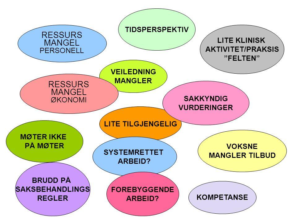 TIDSPERSPEKTIV RESSURS MANGEL PERSONELL BRUDD PÅ SAKSBEHANDLINGS REGLER VOKSNE MANGLER TILBUD LITE TILGJENGELIG LITE KLINISK AKTIVITET/PRAKSIS FELTEN SAKKYNDIG VURDERINGER VEILEDNING MANGLER SYSTEMRETTET ARBEID.