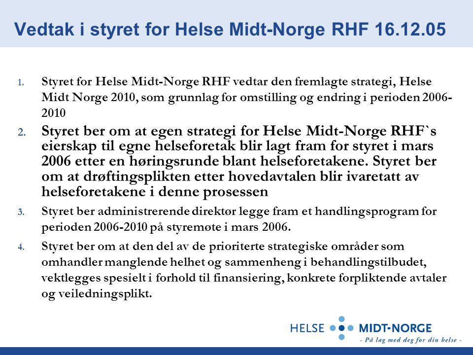 Vedtak i styret for Helse Midt-Norge RHF 16.12.05 1. Styret for Helse Midt-Norge RHF vedtar den fremlagte strategi, Helse Midt Norge 2010, som grunnla