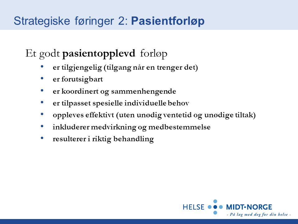 Strategiske føringer 2: Pasientforløp Et godt pasientopplevd forløp er tilgjengelig (tilgang når en trenger det) er forutsigbart er koordinert og samm