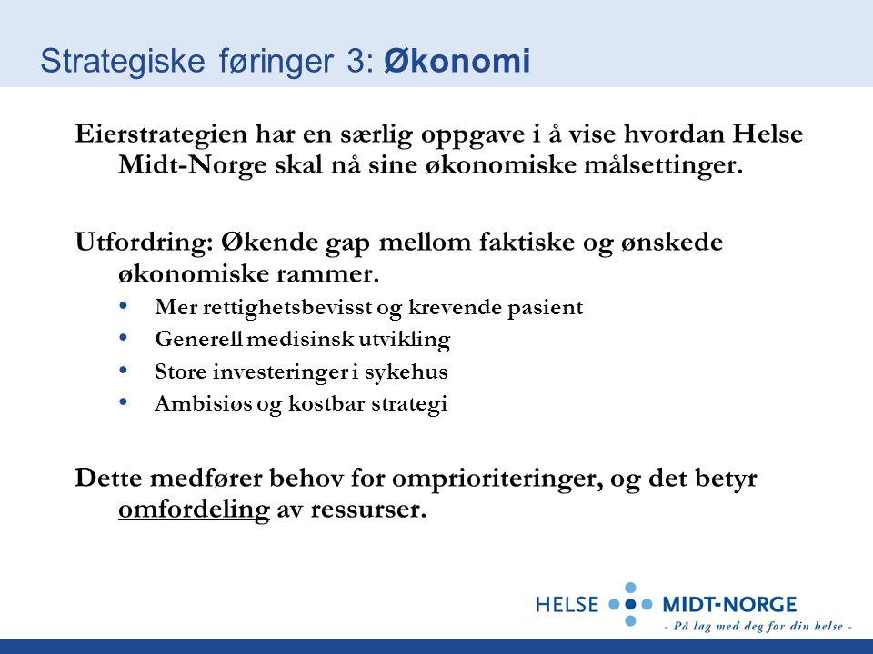 Strategiske føringer 3: Økonomi Eierstrategien har en særlig oppgave i å vise hvordan Helse Midt-Norge skal nå sine økonomiske målsettinger. Utfordrin