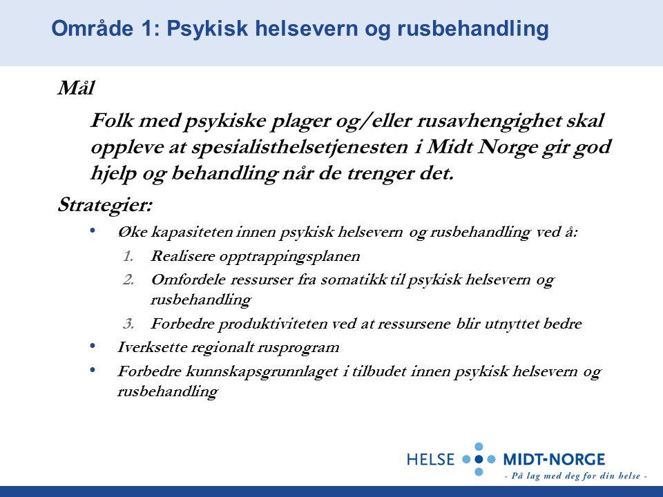 Område 1: Psykisk helsevern og rusbehandling Mål Folk med psykiske plager og/eller rusavhengighet skal oppleve at spesialisthelsetjenesten i Midt Norg