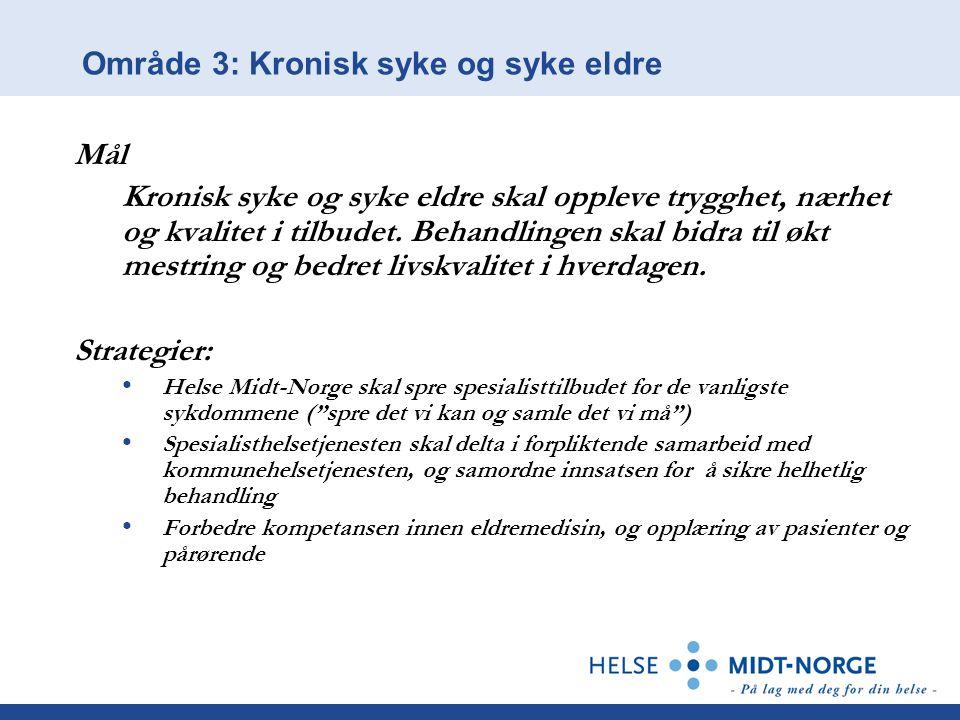 Område 3: Kronisk syke og syke eldre Mål Kronisk syke og syke eldre skal oppleve trygghet, nærhet og kvalitet i tilbudet. Behandlingen skal bidra til