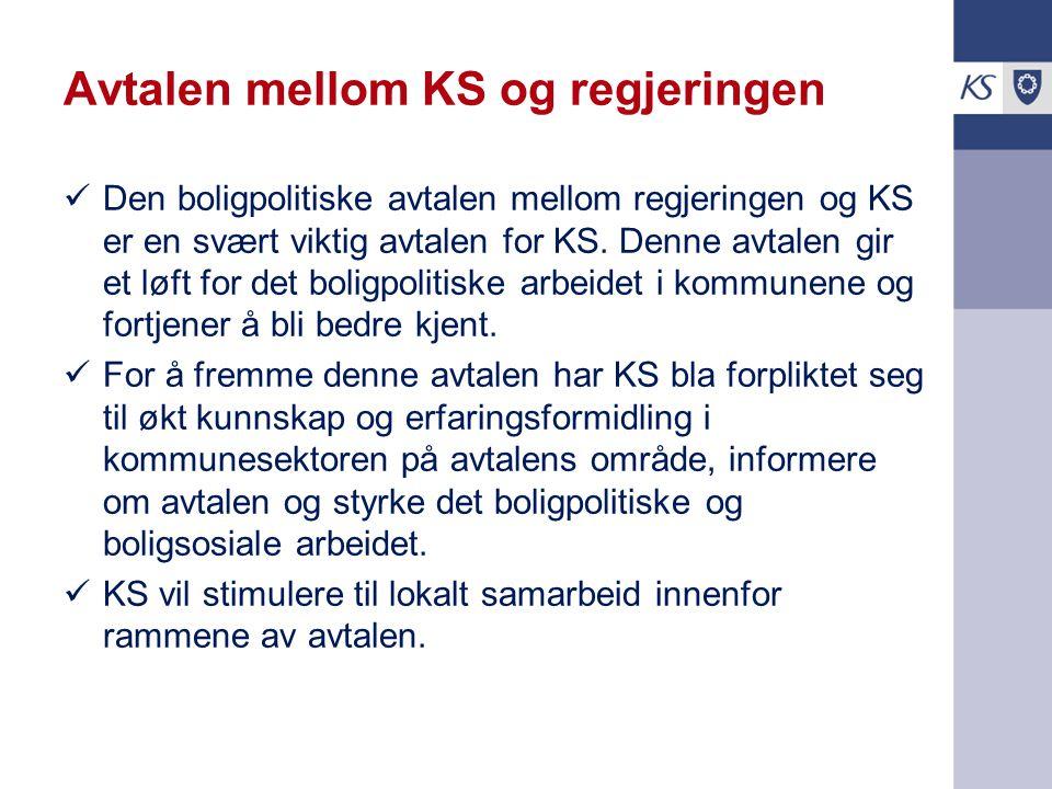 Avtalen mellom KS og regjeringen Den boligpolitiske avtalen mellom regjeringen og KS er en svært viktig avtalen for KS. Denne avtalen gir et løft for