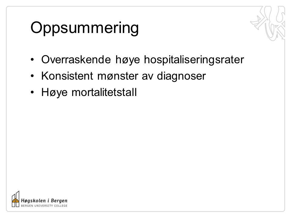 Oppsummering Overraskende høye hospitaliseringsrater Konsistent mønster av diagnoser Høye mortalitetstall