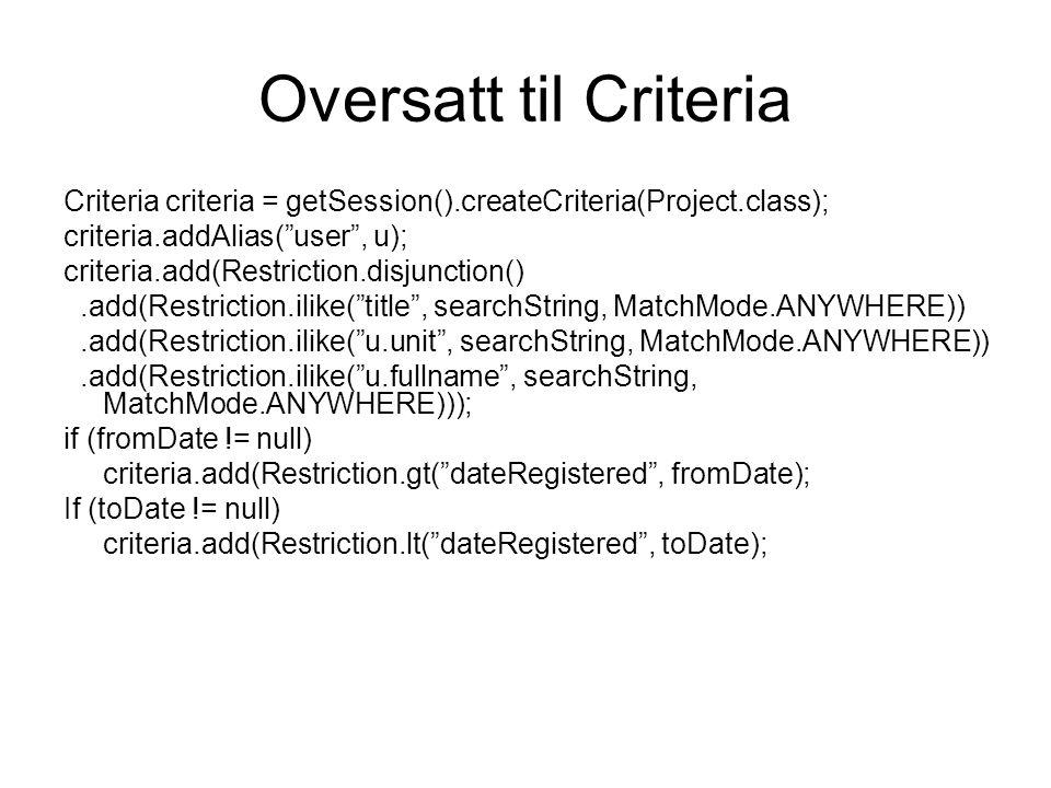 "Oversatt til Criteria Criteria criteria = getSession().createCriteria(Project.class); criteria.addAlias(""user"", u); criteria.add(Restriction.disjuncti"