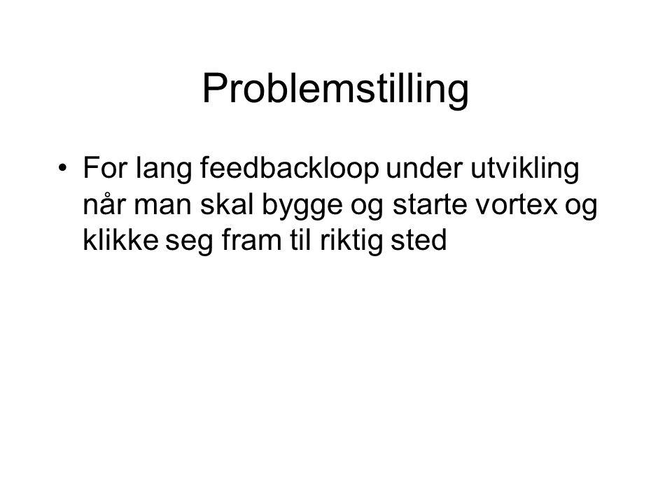 Problemstilling For lang feedbackloop under utvikling når man skal bygge og starte vortex og klikke seg fram til riktig sted