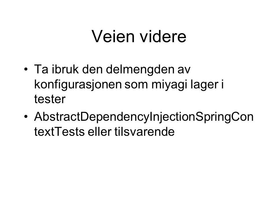 Veien videre Ta ibruk den delmengden av konfigurasjonen som miyagi lager i tester AbstractDependencyInjectionSpringCon textTests eller tilsvarende