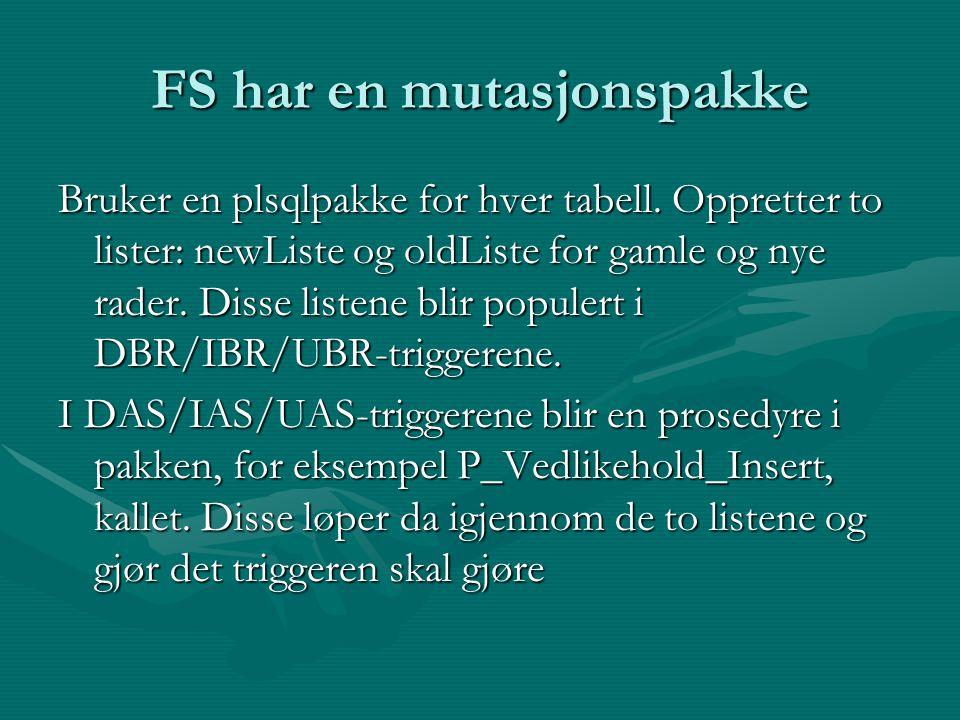 FS har en mutasjonspakke Bruker en plsqlpakke for hver tabell. Oppretter to lister: newListe og oldListe for gamle og nye rader. Disse listene blir po