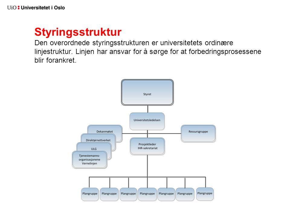 Styringsstruktur Den overordnede styringsstrukturen er universitetets ordinære linjestruktur. Linjen har ansvar for å sørge for at forbedringsprosesse