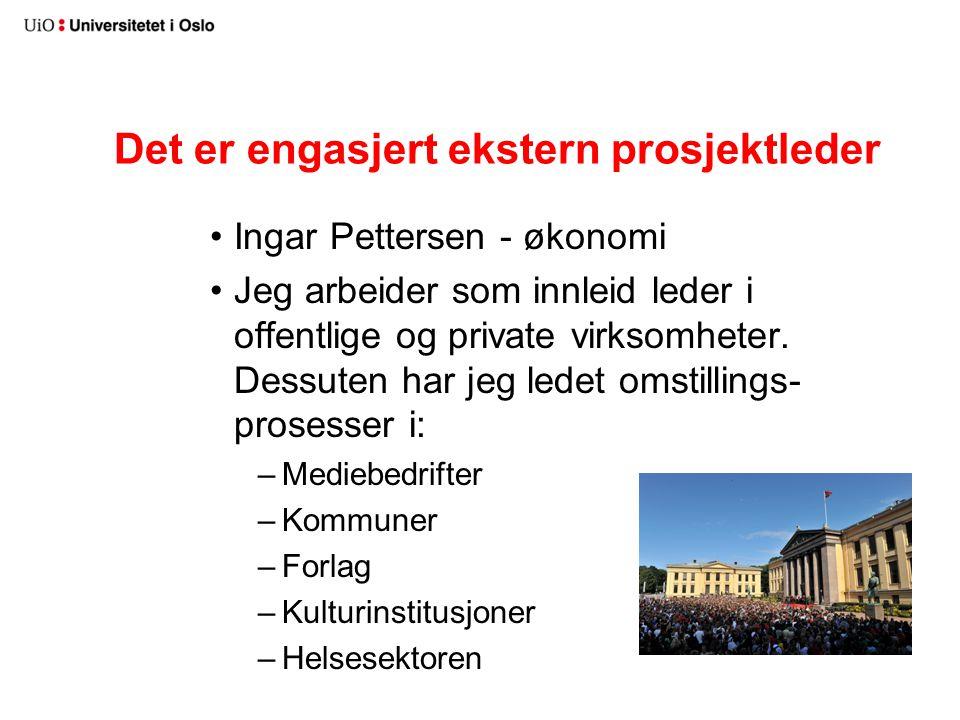 Det er engasjert ekstern prosjektleder Ingar Pettersen - økonomi Jeg arbeider som innleid leder i offentlige og private virksomheter. Dessuten har jeg