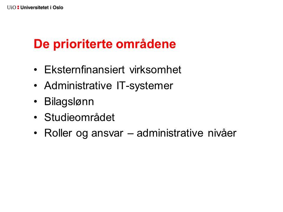 De prioriterte områdene Eksternfinansiert virksomhet Administrative IT-systemer Bilagslønn Studieområdet Roller og ansvar – administrative nivåer