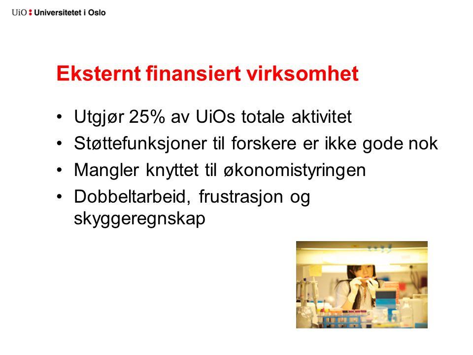 Eksternt finansiert virksomhet Utgjør 25% av UiOs totale aktivitet Støttefunksjoner til forskere er ikke gode nok Mangler knyttet til økonomistyringen